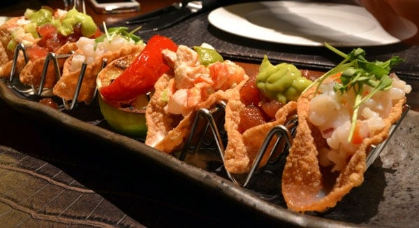 Trio de tacos, Restaurante Flame Vail, Four Seasons Vail