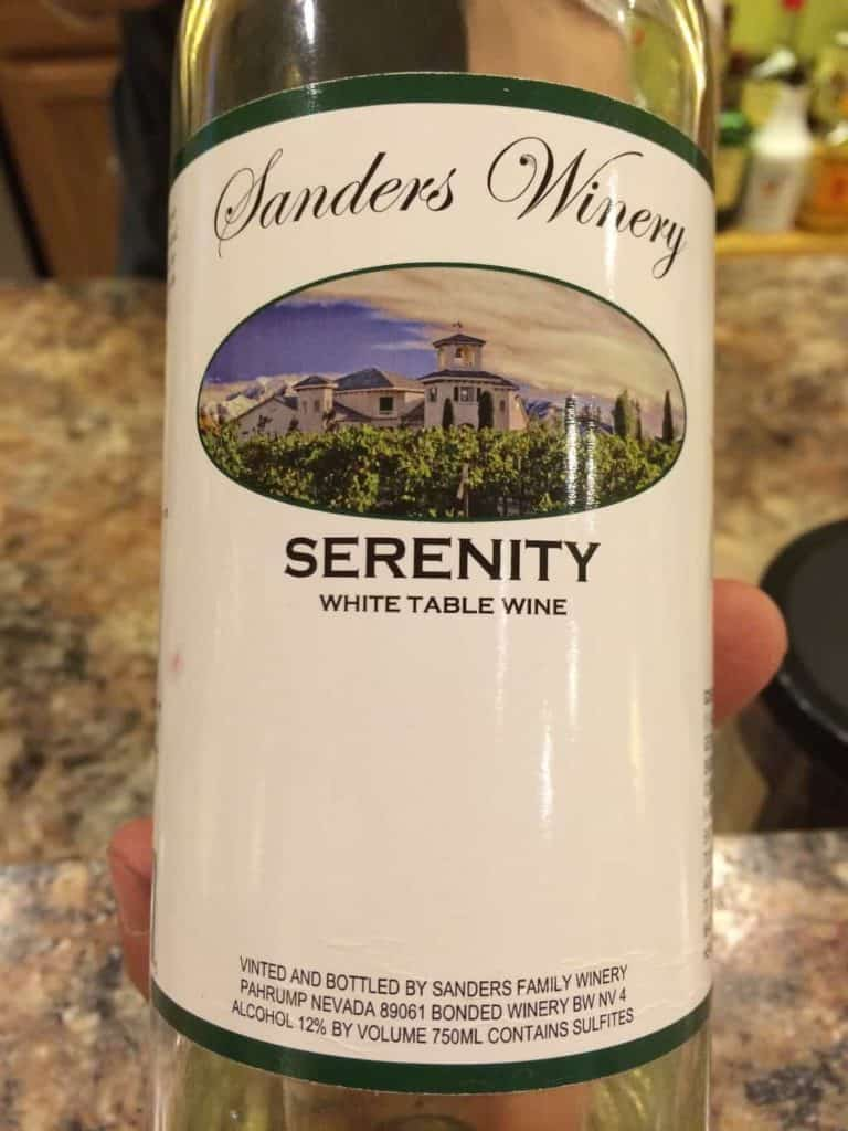 Serenity wine, Sanders Family Winery, Pahrump, Nevada